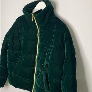 Guess green velvet coat size small